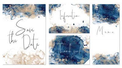 Naklejka Classic blue and gold wedding set with hand drawn watercolor background. Includes Invintation, menu, information and thank you cards templates