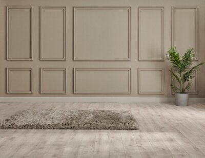 Naklejka Classic brown wall background, interior room, carpet with chair style, vase of plant detail.