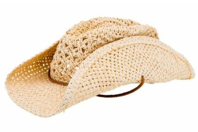 Naklejka classic cowboy straw hat isolated on white background