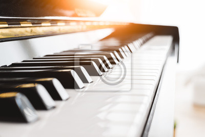 Naklejka Classic piano key with musician hands playing