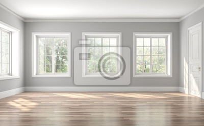 Naklejka Classical empty room interior 3d render,The rooms have wooden floors and gray walls ,decorate with white moulding,there are white window looking out to the nature view.