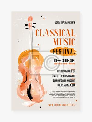 Naklejka Classical music festival poster template