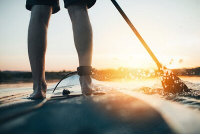 Naklejka Close up of man paddleboarding at sunset