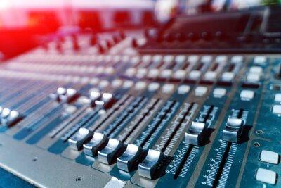 Naklejka Close up of musical studio mixer. Electronic volume radio technologies.
