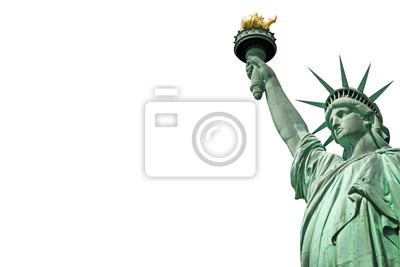 Naklejka Close up of the Statue of Liberty in New York, USA. Isolated on white background with copy space
