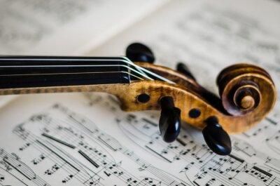 Naklejka Close-Up Of Violin And Musical Sheet