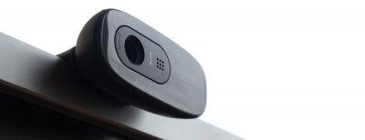 Naklejka Close-up Of Webcam On Monitor Against White Background