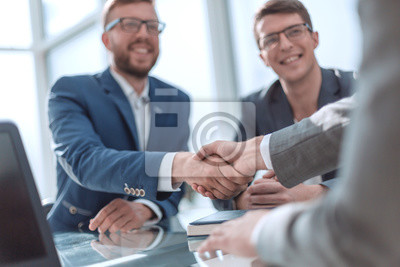 Naklejka close up. successful business people shaking hands