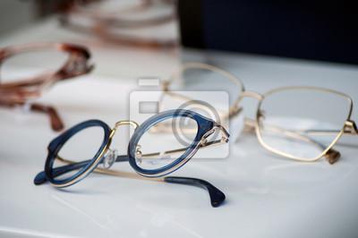 Naklejka closeup of eyeglasses collection in store showroom