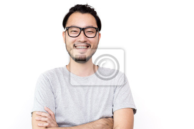Naklejka Closeup portrait of happy asian man face, isolated on white background with copy space.