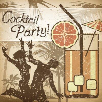 Naklejka Cocktail party plakat w stylu retro