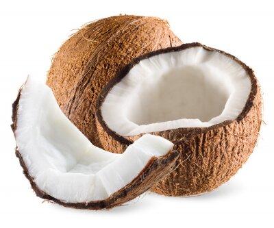Naklejka Coconut połowa i kawałek samodzielnie na biały