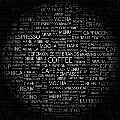 Naklejka COFFEE . Kolaż w wyrazie na czarnym tle.