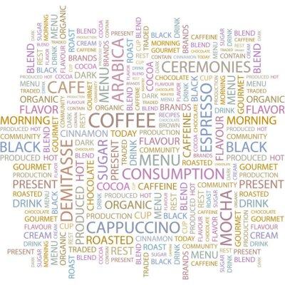 Naklejka COFFEE . Word chmura .