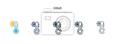 Naklejka cold icon in different style vector illustration. two colored and black cold vector icons designed in filled, outline, line and stroke style can be used for web, mobile, ui