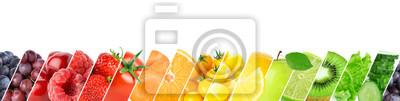 Naklejka Collage of color fruits and vegetables. Fresh ripe food