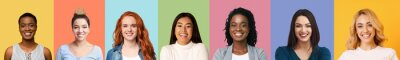 Naklejka Collage of diverse multiethnic young women smiling over colorful backgrounds
