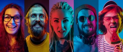 Naklejka Collage of portraits of young emotional people on multicolored background in neon light. Concept of human emotions, facial expression, sales. Smiling, listen to music, happy. Flyer for ad, proposal.