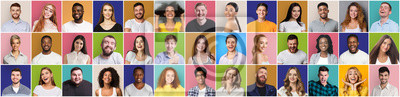 Naklejka Collage of smiling and happy multiethnic people