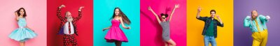 Naklejka Collage photo six cool funny active modern people diversity fancy ladies hipster guys men good mood discotheque festive clubbers isolated many colors violet teal yellow pink red background