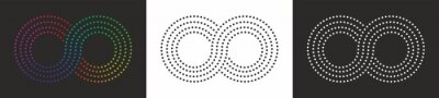 Naklejka Collection: Ethernity, infinity symbol pattern of dots. Three alternatives, black, white and colorful. Vector illustration. EPS10.