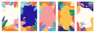 Naklejka Collection of abstract background designs, summer sale, social media promotional content. Vector illustration