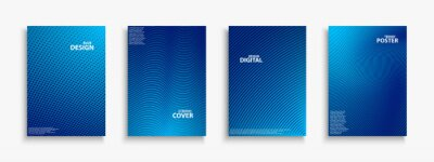 Naklejka Collection of blue digital contemporary covers, templates, posters, placards, brochures, banners, flyers and etc. Abstract striped futuristic backgrounds with gradient. Halftone technology design