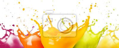 Naklejka collection of fruit juice colorful splashes isolated on white background.