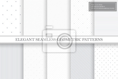 Naklejka Collection of geometric simple seamless vector patterns - gray dotted and striped textures.