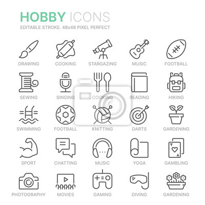 Naklejka Collection of hobbies line icons. 48x48 Pixel Perfect. Editable stroke