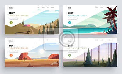 Naklejka Collection of landing page templates. Modern landscape backgrounds. Best vacation tours commercial