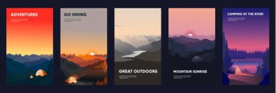 Naklejka Collection of mountain and river landscapes for banner, web site, social media. Editable vector illustration with summer camping, overnight near to bonfire in tent