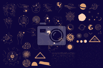 Naklejka Collection of Mystical and Astrology objects, Woman face, Space objects, planet, constellation, magic ball, human hands. Minimalistic objects made in the style of one line. Editable vector illustratio