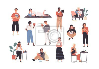 Naklejka Collection of people reading or students studying and preparing for examination. Set of book lovers, readers, modern literature fans isolated on white background. Flat cartoon vector illustration.