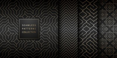 Naklejka Collection of seamless geometric golden minimalistic patterns. Simple vector graphic black print background. Repeating line abstract texture set. Stylish trellis gold square. Geometry web page fill.