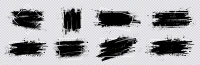 Naklejka Collection paint compositions grunge with frame for texting boxes. Dirty texture elements, quote box speech template. Black splashes isolated. Paint grunge for posters, flyers, cards, banners. Vector