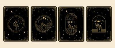 Naklejka collection set of Magical tarot cards esoteric occult boho spiritual reader witchcraft magic crystal celestial symbol