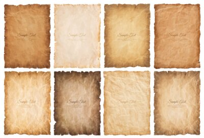 Naklejka collection set old parchment paper sheet vintage aged or texture isolated on white background.