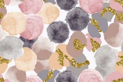 Naklejka Color, abstract, diverse seamless pattern with colorful watercolor and gold glitter shapes made in vector
