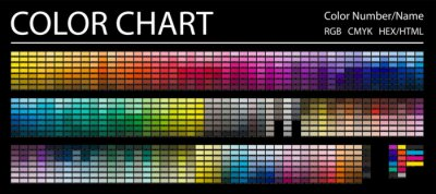 Naklejka Color Chart. Print Test Page. Color Numbers or Names. RGB, CMYK, HEX HTML codes. Vector color palette.