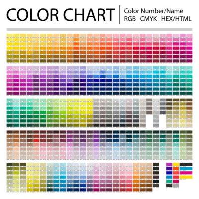 Naklejka Color Chart. Print Test Page. Color Numbers or Names. RGB, CMYK, Pantone, HEX HTML codes. Vector color palette.