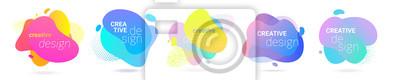 Naklejka Color gradient abstract liquid splash shape, vector halftone pattern background design. Fluid color gradient overlap halftone graphic background
