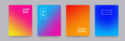 Naklejka Color gradient background, geometric halftone pattern, vector abstract trendy graphic design. Simple minimal halftone color gradient, modern pattern backgrounds