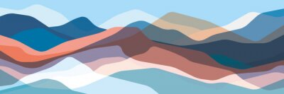 Naklejka Color mountains, translucent waves, abstract glass shapes, modern background, vector design Illustration for you project