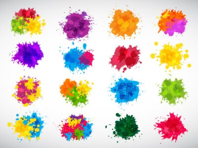 Naklejka Color splashes. Abstract ink brushes shapes liquid colored templates splatters magenta yellow blue recent vector illustrations set for design projects