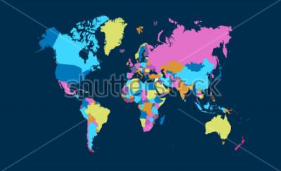 Naklejka Color world map vector