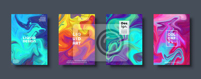 Naklejka Colorful abstract geometric background. Liquid dynamic gradient waves. Fluid marble texture. Modern covers set. Eps10 vector.