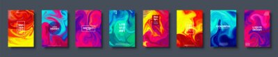 Naklejka Colorful abstract geometric background. Liquid dynamic gradient waves. Fluid marble texture. Modern covers set. Vector illustration.