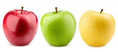 Naklejka colorful apples, red green and yellow fruit, isolated on white background, clipping path, full depth of field