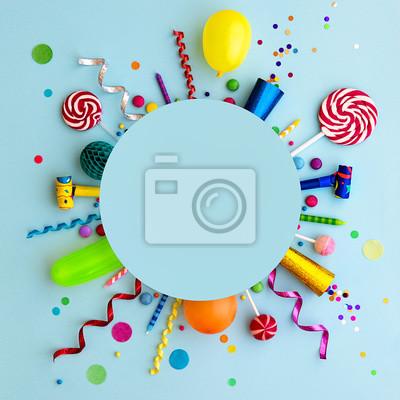 Naklejka Colorful birthday party flat lay background